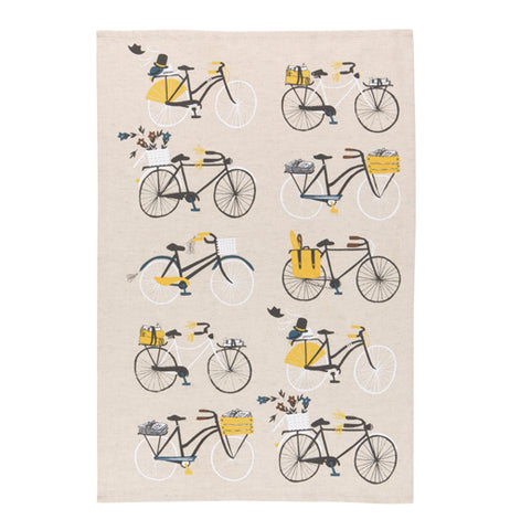 """Bicicletta"" tea towel with design of 10 bikes over a white background."