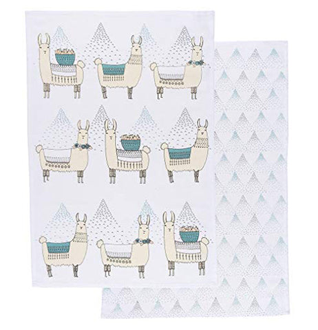 These two white dish towel depict two different designs: one is of llamas wearing emerald and white blankets and necklaces with black drawings of the Peruvian Andes Mountain range behind them against a white background and the second one shows the black mountain drawings against a white background.