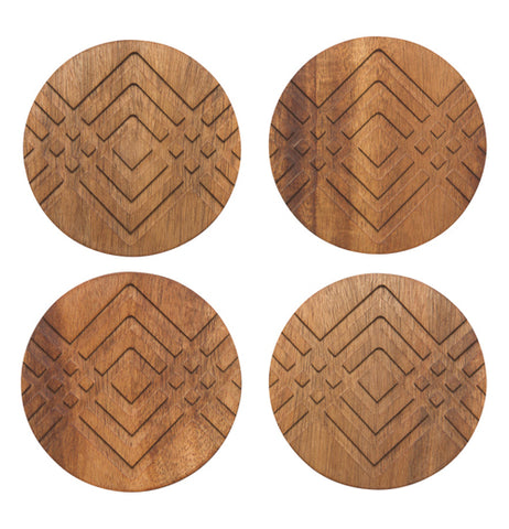 Four of the diamond patterned coasters are shown standing together.