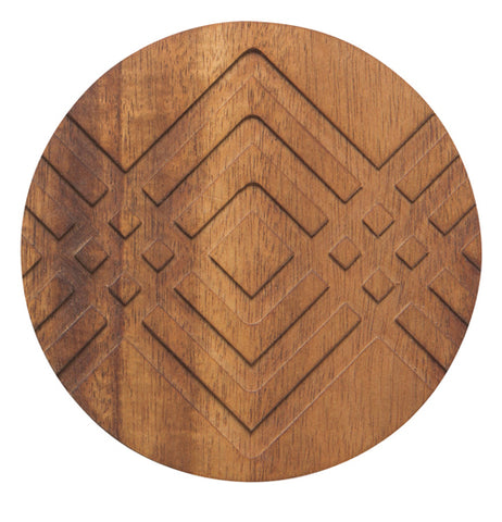 This acacia wood coaster has lines crisscrossing a diamond pattern.