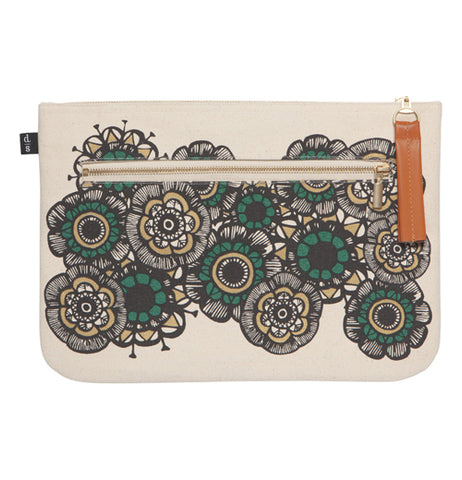 This large pouch features beautiful insect and foliage design in green, gold and black over a white back ground with a front zipper in front and an orange tassel.