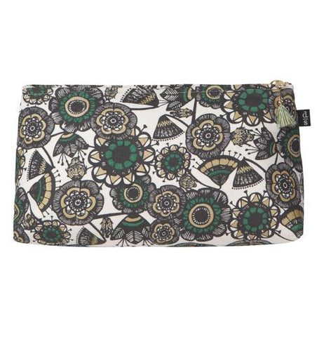 This large cosmetic bag has a green and tan and gray insect and foliage design over a white background.