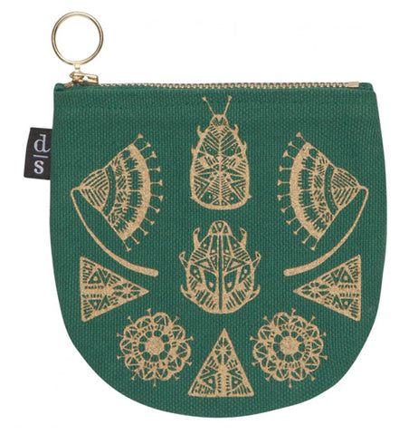 The Green Half Moon ShadowVale Pouch features a gold foil illustrations of scarabs, fans, and other designs
