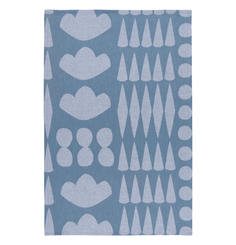 This blue towel has a design of different white shapes, such as diamonds, circles, and roses.