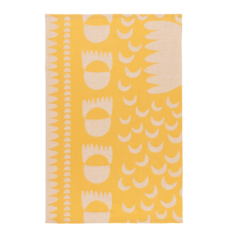 "Unfolded ""Crescendo"" yellow jacquard tea towel with white shape design."