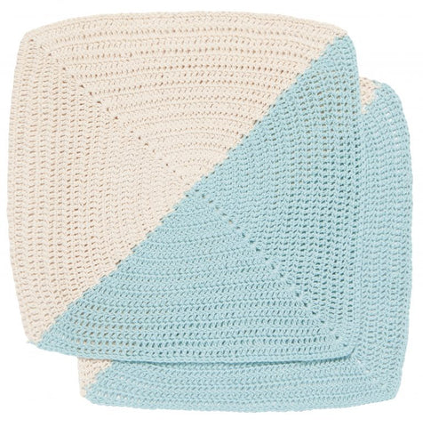 "The ""Angle"" Crochet Dishcloth is half sky blue and half cream"
