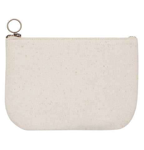 "The back of the cream colored ""Frida"" zip up pouch is shown to be blank."