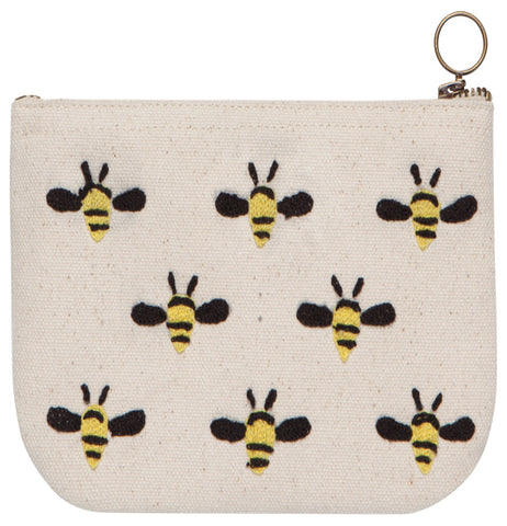 This cream colored zip-up pouch has a picture of eight bumblebees covering it.