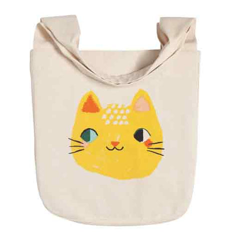 Meow Meow to & fro tote with a picture of a yellow cats head on a white background.