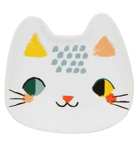 Meow meow trinket tray with a white cats head with colorful features.