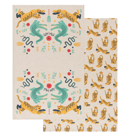 Set of tea towels were one features tigers, snakes and crocodiles over a tan background and the other shows a pattern of tigers on a tan background.
