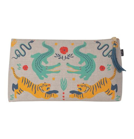 A large linen cosmetic bag with blue snakes and orange tigers with black stripes and green alligators with black dots.