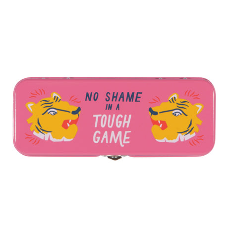 "Top view of pink ""Fierce"" pencil case with orange tiger heads and blue and white words that read ""No Shame In A Tough Game"" on a white background."