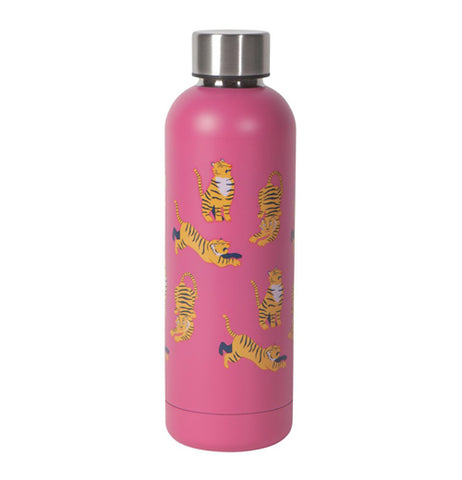 "Front view of ""Fierce"" pink water bottle with orange tiger design and silver colored lid on a white background."