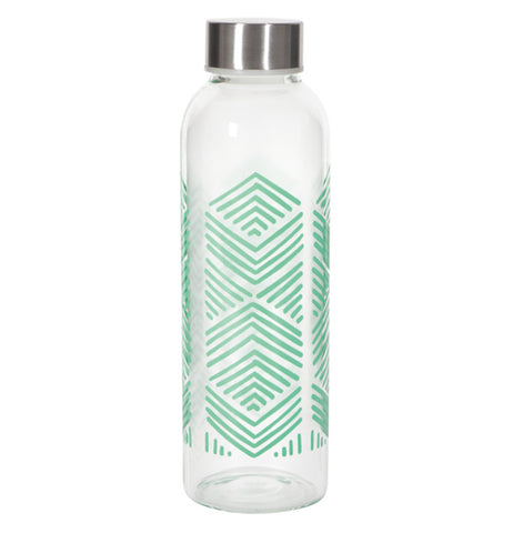 """Mint"" sustain water bottle with green arrow design and steel lid."