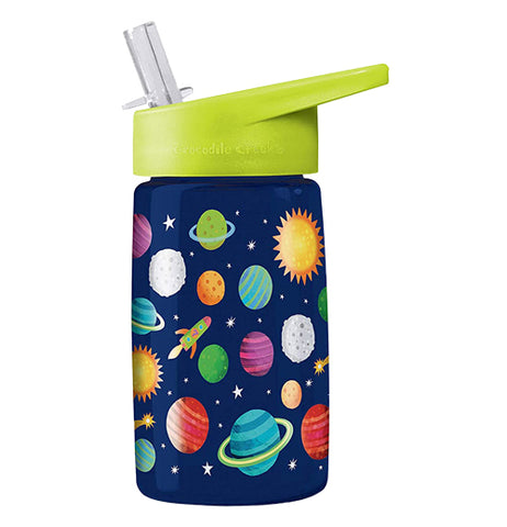 "The Tritan ""Solar System"" Drinking Bottle features a space themed design with planets, suns, moons, stars, and rocket ship over a dark blue background with a light green spill-resistant sipper on top."