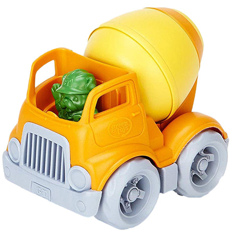 A orange toy cement truck that comes with a bulldog construction worker.