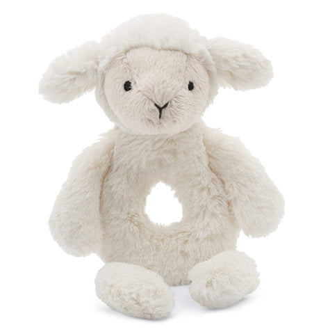 "The ""Bashful Lamb"" Rattle Ring is white colored little lamb with a rattle inside."