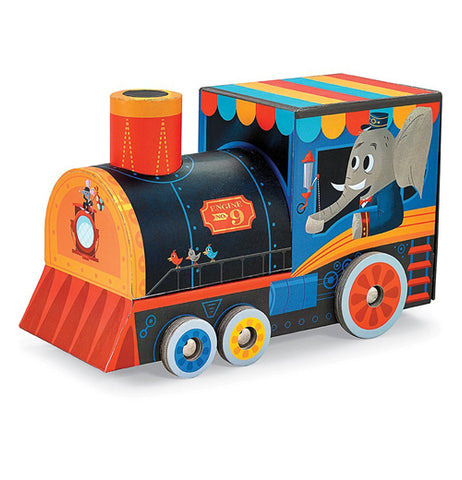 Locomotive shaped carrying case for a puzzle and play set.