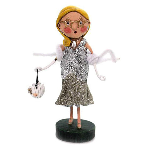 The Scarlette Starlet figurine is dressed up in sequin and a white scarf while holding a white trick or treat bucket.