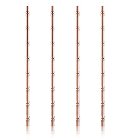 These copper-colored straws have small bumps all up and down them, so that they are shaped like bamboo.
