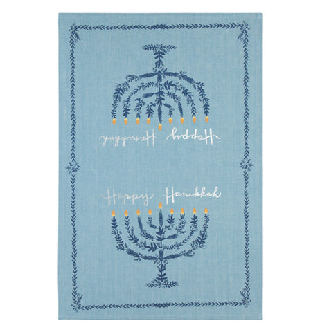 The blue dish towel with a menorah design is shown individually.