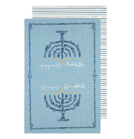 "These set of dish towels are shown one on top of the other. One of them is azure blue with two menorahs at both ends. The words, ""Happy Hanukkah"" are shown between the candles in white lettering. The other towel is shown to be white with blue stripes covering it."