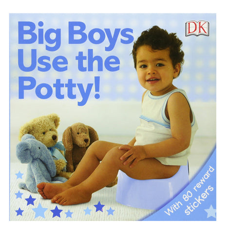 This cover of the Big Boys Use the Potty shows a child sitting on a light blue toilet with some stuffed toy animals in front of him.