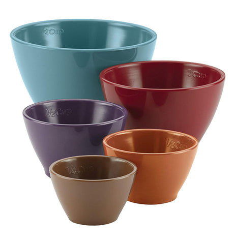 Measuring Cup Set of 5 in brown, orange, purple, red, and blue lined up smallest to largest.