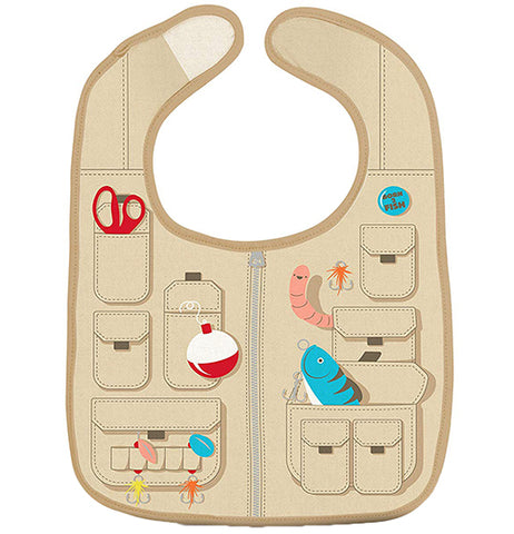 """Fisherman"" baby bib with design that looks like a fisherman's vest complete with fishing lures and scissors."