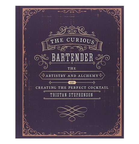"Book for bartenders called "" The Curious Bartender"" has a dark brown front cover."