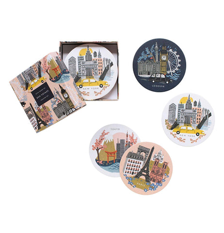 "Coasters (Set of 8) ""Cities"""
