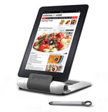 This is a grey plastic multi positioning tablet stand that is being used to show a recipe.  It comes with it's own stylus.