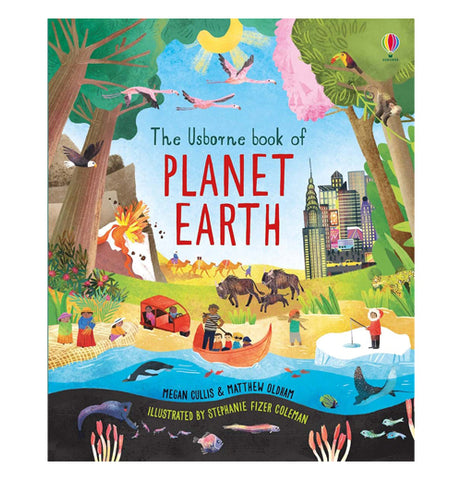 This book shows tree's surrounded by water with people and someone in a canoe and some people waiting on an island and someone ice fishing. The name of the book is called Planet Earth. this book shows in the background of buffalos and a city scape and a volcano erupting and flamingos flying in the air.