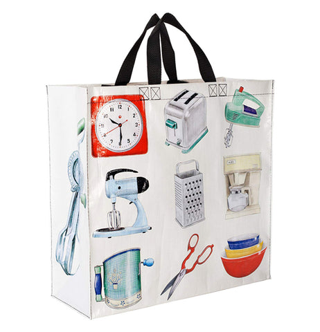 This white bag shows it's kitchen item illustrations across its top, middle, and bottom rows. On its side is an eggbeater with a turning handle.