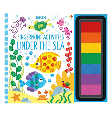 Finger Printing Activities Under the Sea Book that has a Jelley fish, turtle, sea horses, and different colored fish and a crab and a star fish on the cover and tray of paints attached on the right side.