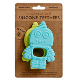 Set of 2 silicone retro robot teethers one is blue and one is green in it's packaging.
