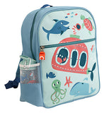 Backpack with ocean theme on it.