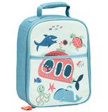 This blue backpack has an ocean theme of a submersible, some fish, sharks, whales, octopus, and sea turtles on it.
