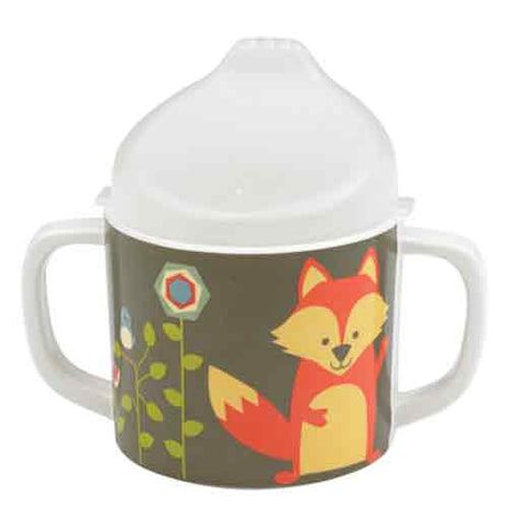 This sipping cup has a fox and flowers on it and is green with a white top.