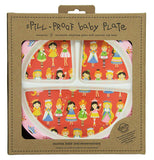 The child's plate with princesses on it is shown is shown within its cardboard packaging.