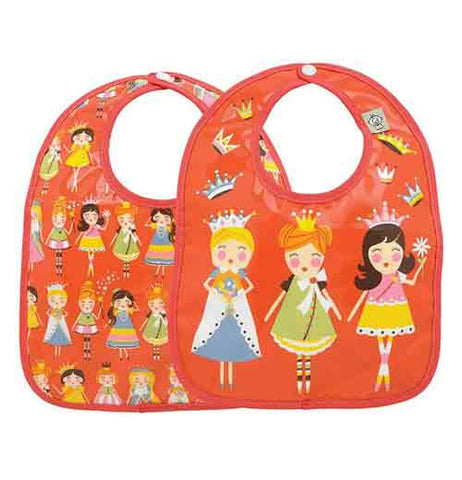 This baby bib features a few rows of princesses all wearing differently colored dresses and crowns. Three of them are shown on the back.