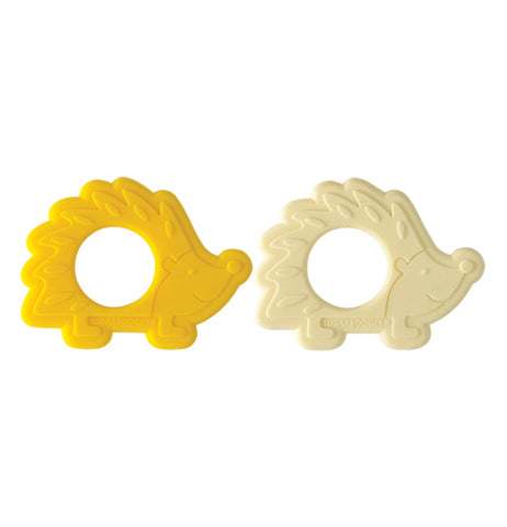 This is a set of 2 silicone hedgehog teethers. One is yellow and one is cream colored.