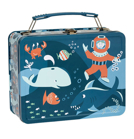 Metal lunch box with ocean theme.