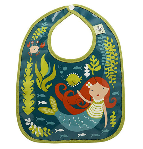 "Green ""Isla the Mermaid"" baby bib that contains a mermaid with green sea plants"