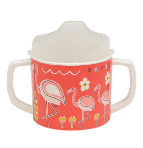 Baby sippy cup with pink flamingos on it back view.