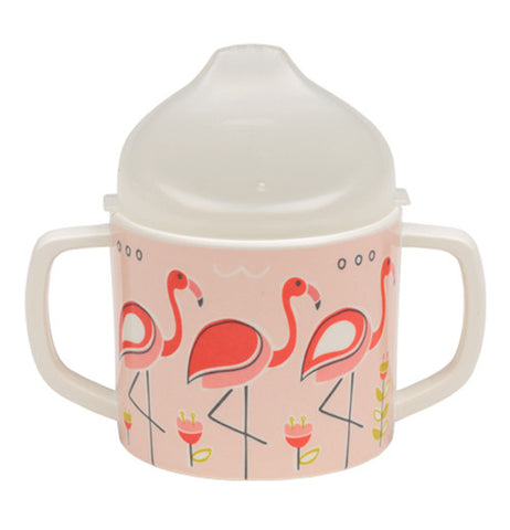 Kids Sippy cup with pink flamingos on it showing light pink front.