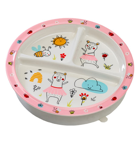 This Suction Baby Bowl with Clementine the Bear has pink outline with three sections for three course meals.