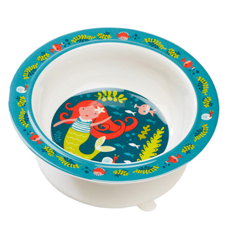 A white suction baby bowl with an image of Isla the Mermaid in the blue sea at the bottom of the bowl with marine life on the lip of the bowl.