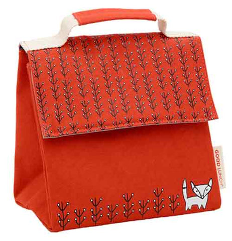 Red snack sack with a black and white fox on the corner.  With grass on the top of the lid and bottom.